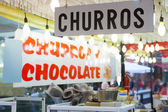Churros and chocolate fritter typical food in Valencia Fallas — Stock Photo