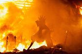 Crema in Fallas Valencia March 19 night all figures are burn — Stock Photo