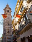 Valencia Santa Catalina church tower from Calle la Paz — Stockfoto