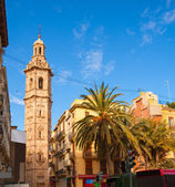 Valencia Plaza de la Reina with Santa Catalina church tower — Stock Photo