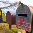 California grunge mailboxes along Pacific Highway Route 1 — Stock Photo