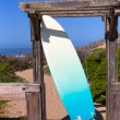 Stock Photo: Californisurfboard on beach in Cabrillo Highway Route 1