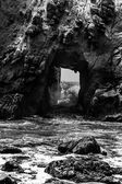 California Pfeiffer Beach in Big Sur State Park dramatic bw — Stock Photo