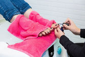 Pedicure chair spa and woman hands painting toes nail polish — Stock Photo