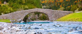 Rio Ara river and bridge San Nicolas de Bujaruelo in Ordesa — Stock Photo