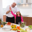 Stock Photo: Junior chef beautiful girl and master teacher award winner