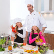 Chef master and junior pupil kid girls at cooking school — Stock Photo #41036437