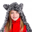 Blond kid girl with winter gray feline fur scarf hat in white — Stock Photo #41768413
