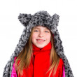 Blond kid girl with winter gray feline fur scarf hat in white — Stock Photo #41768475