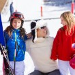 Snow winter family in ski track mother and daughters — Stock Photo #41769063