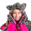 Blond kid girl with winter gray feline fur scarf hat in white — Stock Photo #41770141