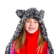 Blond kid girl with winter gray feline fur scarf hat in white — Stock Photo #41770461