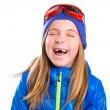 Stock Photo: Crazy laughing funny kid girl with winter hat