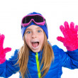 Stock Photo: Blond kid gir winter snow portrait with open hands