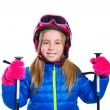 Blond kid girl happy going to snow with ski poles and helmet — Stock Photo #41770781