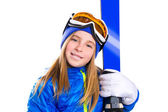 Kid girl ski with snow goggles and winter hat — Stock Photo