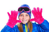Blond kid gir winter snow portrait with open hands — Stock Photo