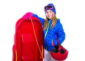 Blond kid girl with red sled snow equipment helmet and goggles — Stock Photo