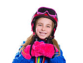 Blond kid girl happy going to snow with ski poles and helmet — Stock Photo