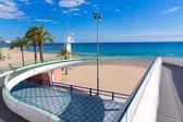 Alicante el Postiguet beach playa with modern bridge — Stock Photo