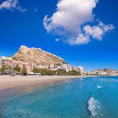 Alicante Postiguet beach and castle Santa Barbara in Spain — Stock Photo