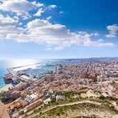 Alicante skyline aerial from Santa Barbara Castle Spain — Stock Photo