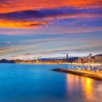 Benidorm Alicante sunset playa de Poniente beach in Spain — Stock Photo #42195585