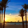 Benidorm Alicante playa de Poniente beach sunset in Spain — Stock Photo