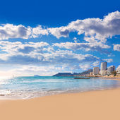 Calpe stranden playa cantal roig nära penon de ifach alicante — Stockfoto