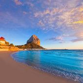 Calpe Alicante sunset at beach Cantal Roig in Spain — Stock Photo