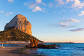 Calpe Alicante sunset at beach Cantal Roig in Spain — Stock Photo