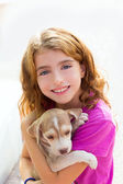 Kid girl smiling puppy dog and teeth braces smiling — Stock Photo