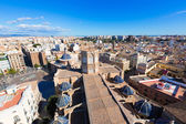 Valencia aerial skyline with Plaza de la virgen and Cathedral — Stock Photo