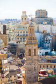 Valencia aerial skyline with Santa Catalina belfry tower — Stock Photo