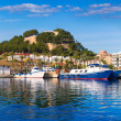 Denia Port with castle hill Alicante province Spain — Stock Photo #44037357