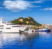 Denia Port with castle hill Alicante province Spain — Stock Photo