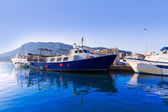 Denia Port fisherboats Montgo mountain in Alicante — Stock Photo