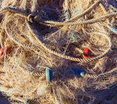 Fishing trammel net tackle texture in Gandia port — Stock Photo