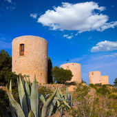 Javea Xabia Molins de la Plana old windmills Alicante — Stock Photo