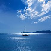 Javea Xabia morning light sailboat in Alicante — Stock Photo
