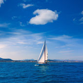 Javea sailboat sailing in Mediterranean Alicante Spain — Stock Photo