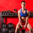 Kettlebell swing workout training woman at gym — Stock Photo #44286011