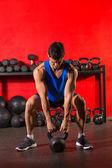 Kettlebell workout training man at gym — Stok fotoğraf