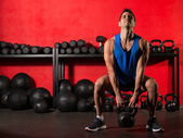 Kettlebell workout training man at gym — Stock Photo