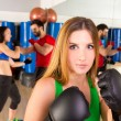 Boxing aerobox woman portrait in fitness gym — Stock Photo