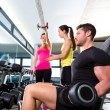 Dumbbell man at gym workout fitness weightlifting — Stock Photo #47223775