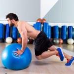 Fitball abdominal push ups Swiss ball — Stock Photo #47227771