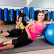 Gym people group relaxed after fitball training — Stockfoto #47228275