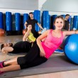 Gym people group relaxed after fitball training — Foto Stock