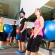 Gym people group relaxed after fitball training — Foto de Stock
